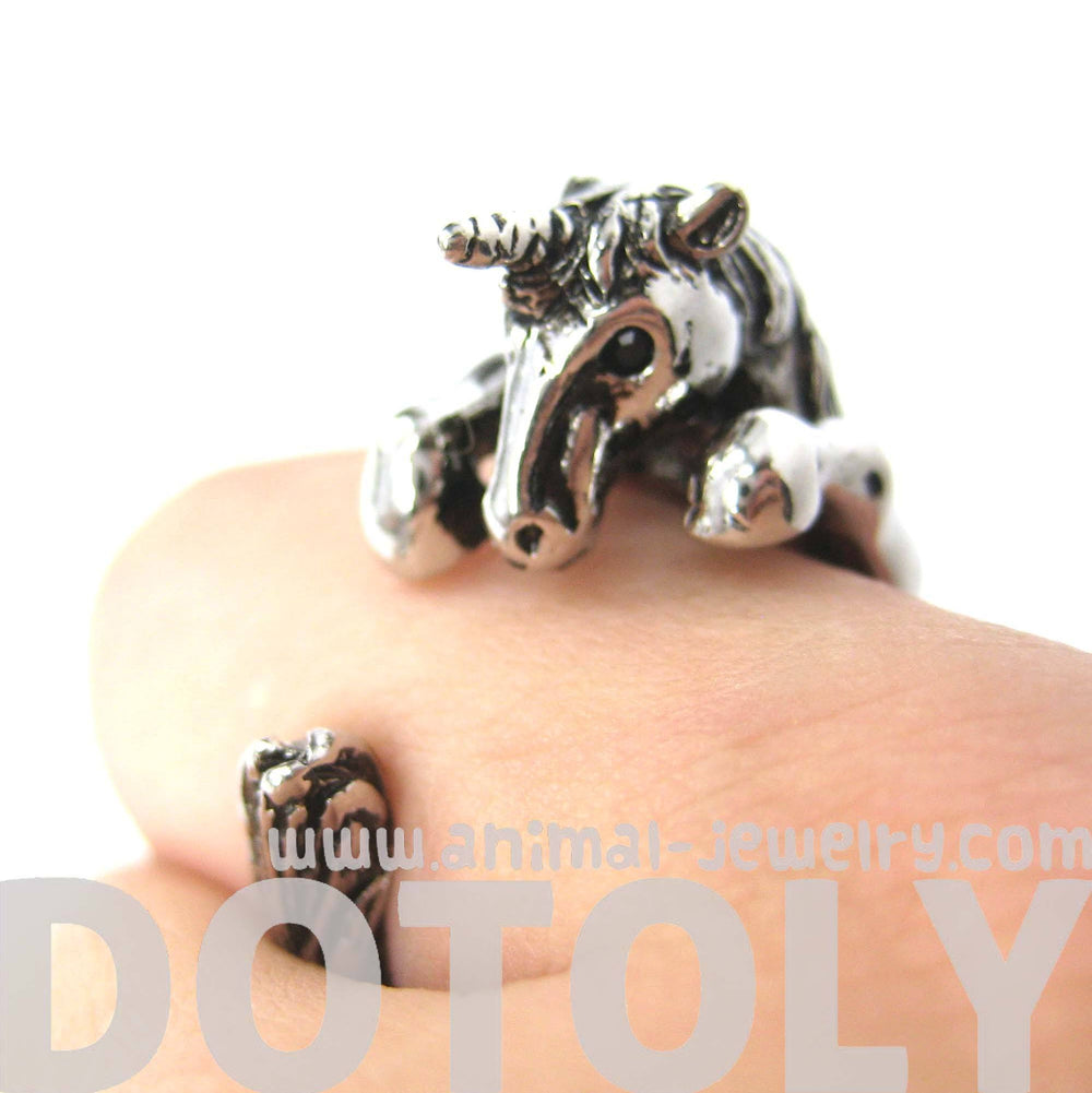 Unicorn Horse Detailed Animal Wrap Around Ring in Shiny Silver | Sizes 5 to 9 | DOTOLY