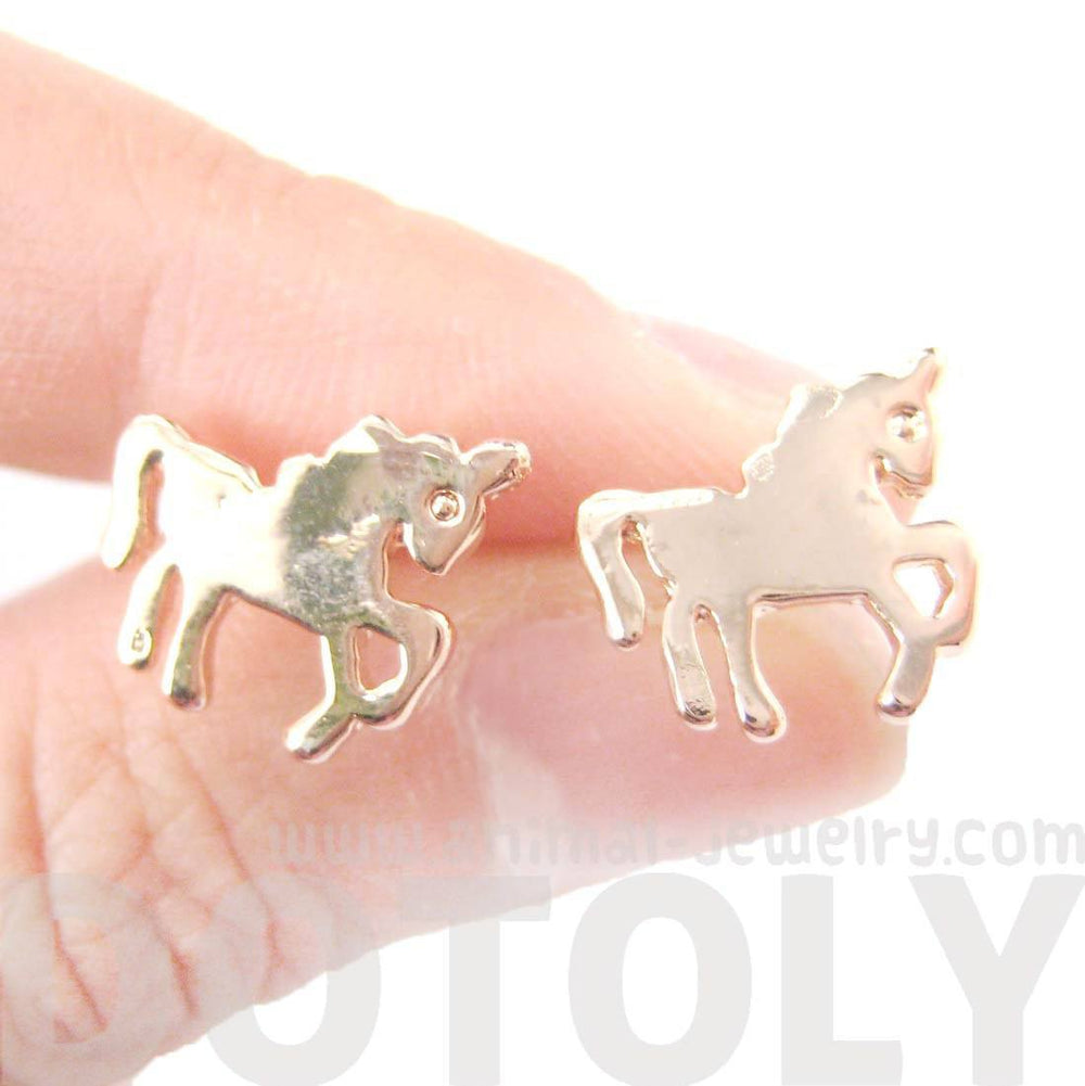 Unicorn Horse Shaped Silhouette Animal Themed Stud Earrings in Rose Gold | DOTOLY