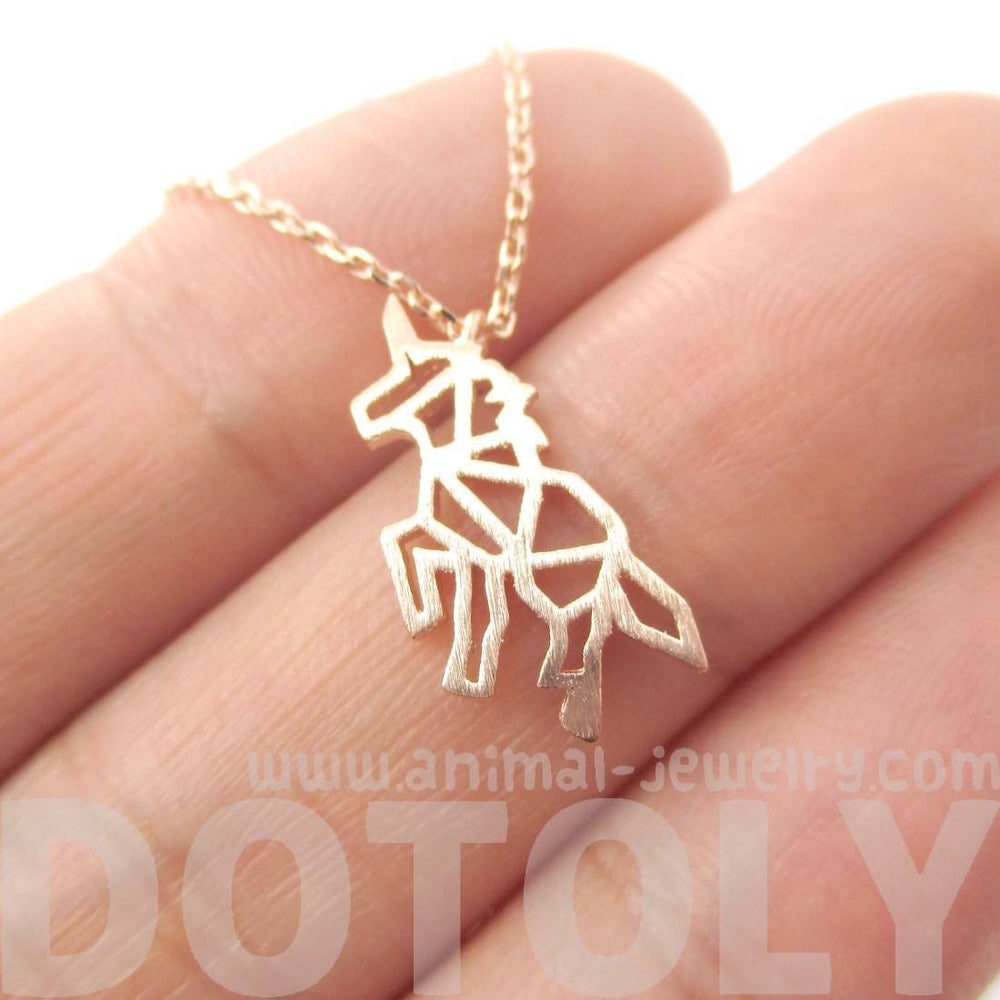 Unicorn Outline Cut Out Shaped Charm Necklace in Rose Gold | Animal Jewelry | DOTOLY