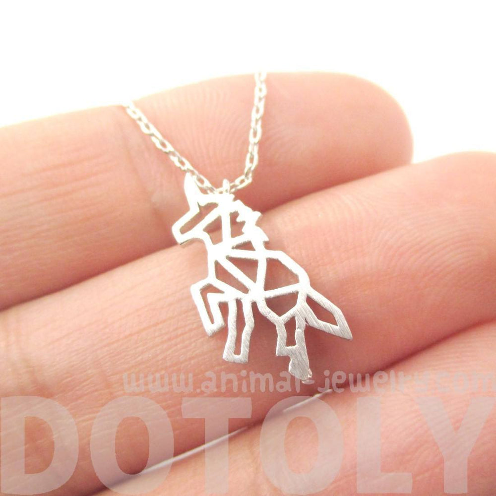 Unicorn Outline Cut Out Shaped Charm Necklace in Silver | Animal Jewelry | DOTOLY