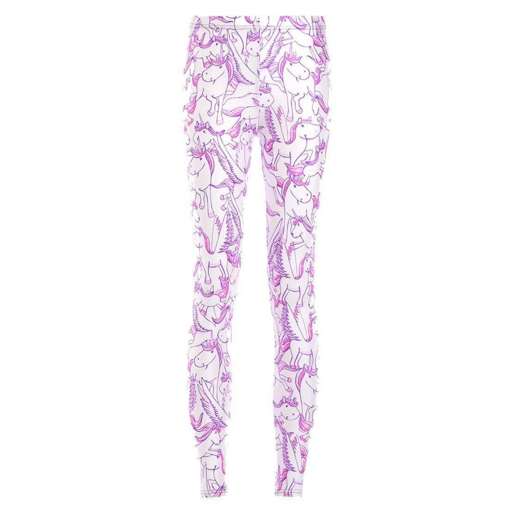 Unicorn Pegasus White Horse Digital Print Comfy Stretch Leggings for Women | DOTOLY