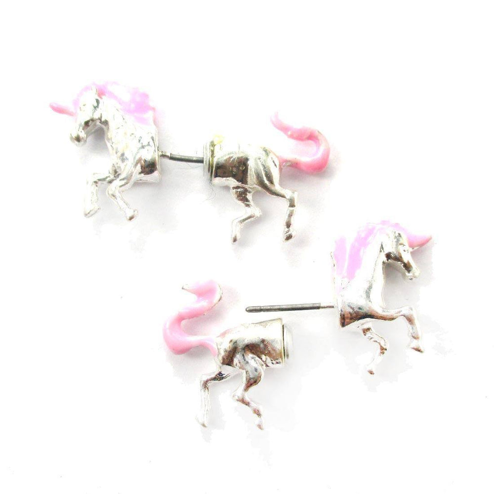 Unicorn Shaped Front and Back Two Part Earrings in Silver and Pink | DOTOLY