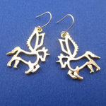Unicorn With Wings Pegasus Outline Shaped Dangle Drop Earrings in Gold