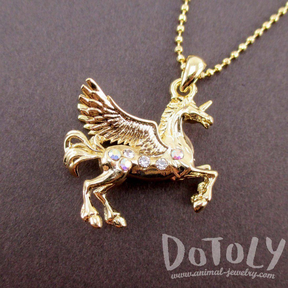 Unicorn with Wings Pegasus Shaped Pendant Necklace in Gold | Animal Jewelry | DOTOLY