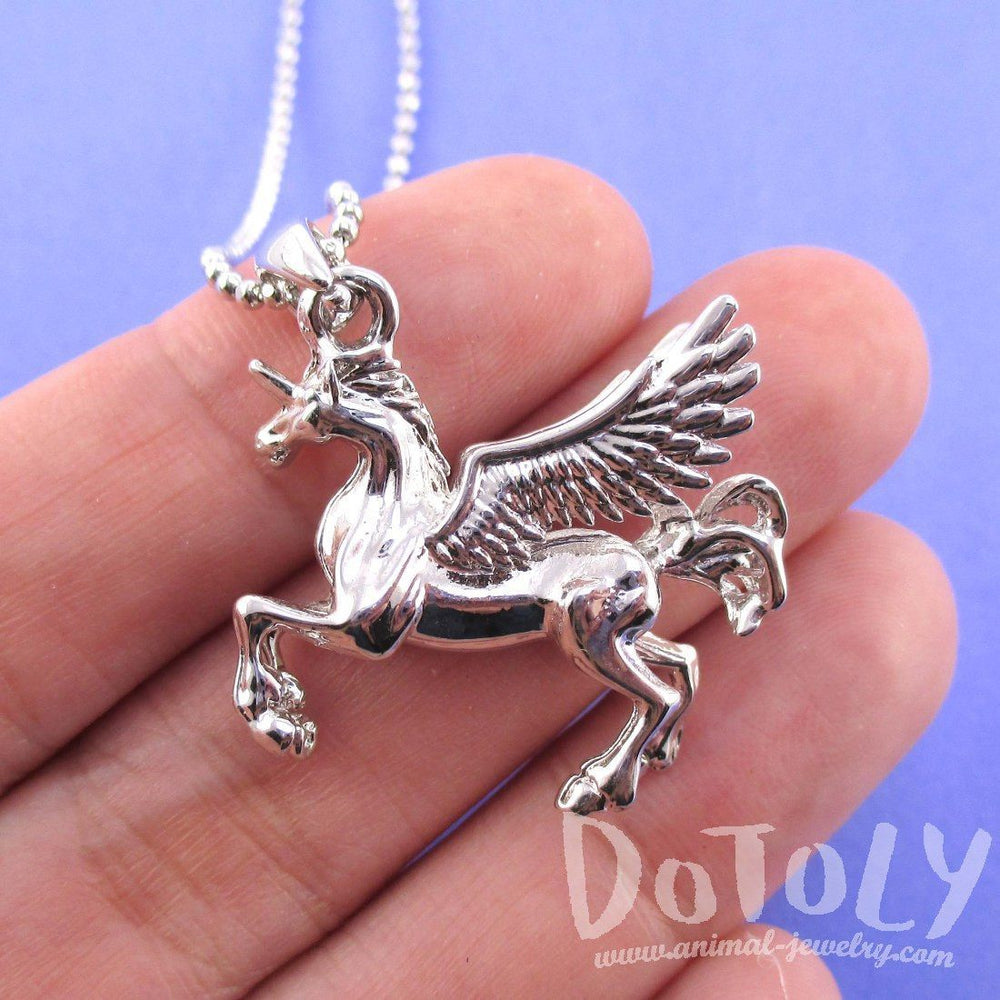Unicorn with Wings Pegasus Shaped Pendant Necklace in Silver | Animal Jewelry | DOTOLY