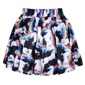 Unicorns and Rainbows All Over Print Skirt with Elastic Waist on Black | DOTOLY