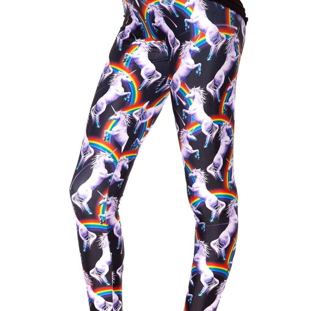 Unicorns and Rainbows Animal Digital Print Comfortable Stretch Leggings for Women | DOTOLY