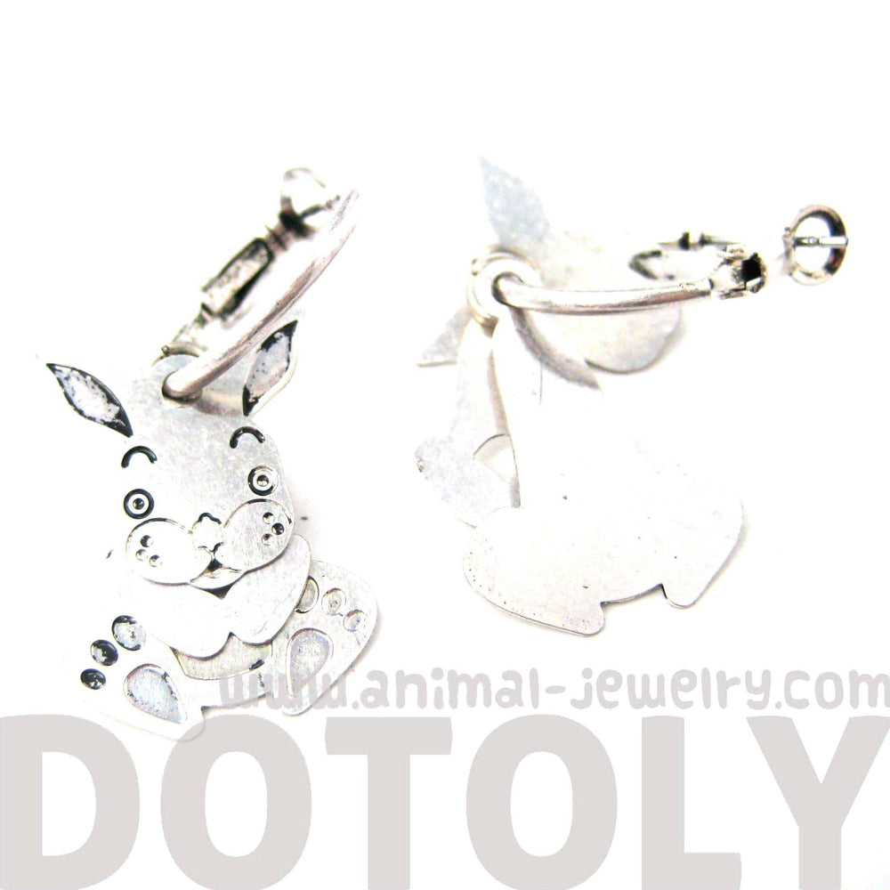 Unique 3D Bunny Rabbit Shaped Dangle Earrings in Silver | Animal Jewelry | DOTOLY