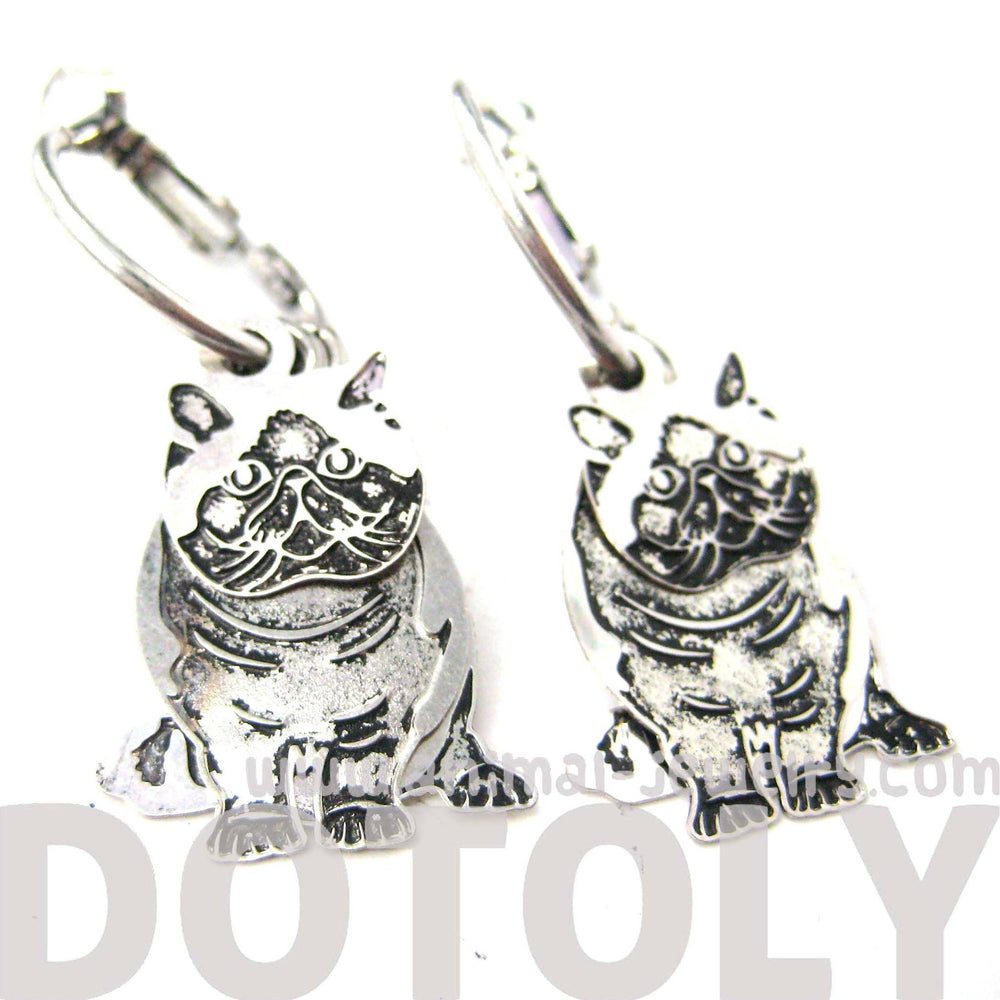Unique 3D Kitty Cat Shaped Dangle Earrings in Silver | Animal Jewelry | DOTOLY