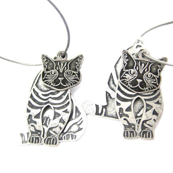 Unique 3D Tabby Kitty Cat Shaped Three Part Dangle Earrings in Silver | Animal Jewelry | DOTOLY