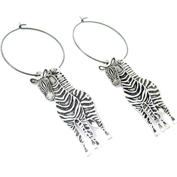 Unique 3D Zebra Horse Shaped Three Part Dangle Earrings in Silver | Animal Jewelry | DOTOLY
