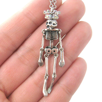 Unique and Fun Skeleton Bones Shaped Moveable Pendant Necklace With Crown Details | DOTOLY