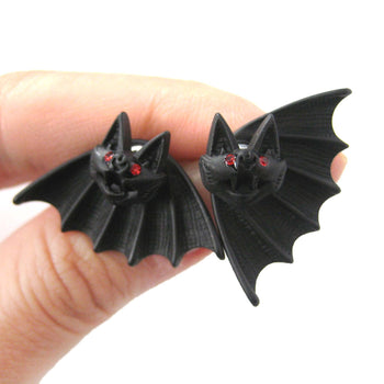 Unique Bat Shaped Two Part Animal Stud Earrings in Black | DOTOLY | DOTOLY