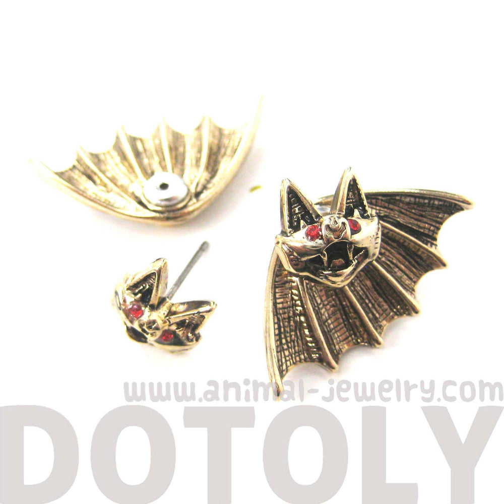 Unique Bat Shaped Two Part Animal Stud Earrings in Gold | DOTOLY | DOTOLY