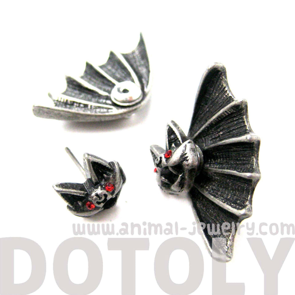 Unique Bat Shaped Two Part Animal Stud Earrings in Silver | DOTOLY | DOTOLY