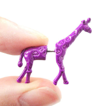 Unique Fake Gauge Earrings: Realistic Giraffe Shaped Animal Faux Plug Stud Earrings in Purple | DOTOLY