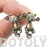 Unique Kitty Cat Shaped Two Part Dangle Earrings in Brass | DOTOLY | DOTOLY