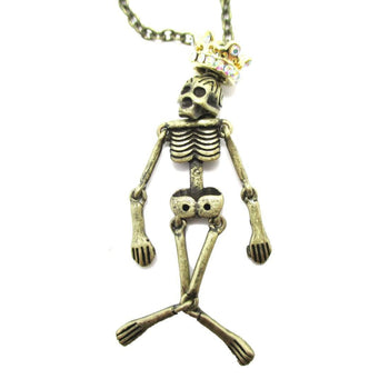 Unique Moveable Human Skeleton Bones Shaped Pendant Necklace With Crown in Brass | DOTOLY