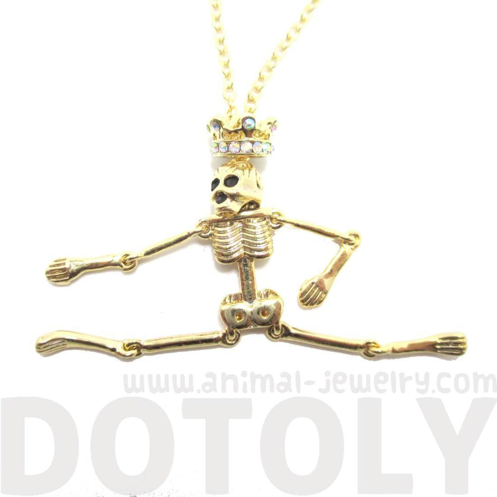 Unique Moveable Human Skeleton Bones Shaped Pendant Necklace With Crown in Gold | DOTOLY