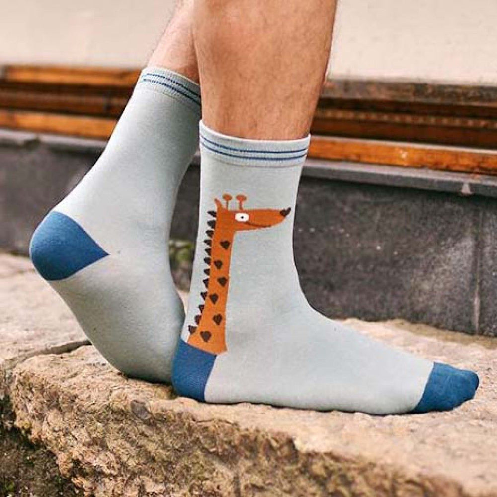 Unisex Giraffe Print Animal Themed Cotton Socks in Blue | DOTOLY | DOTOLY