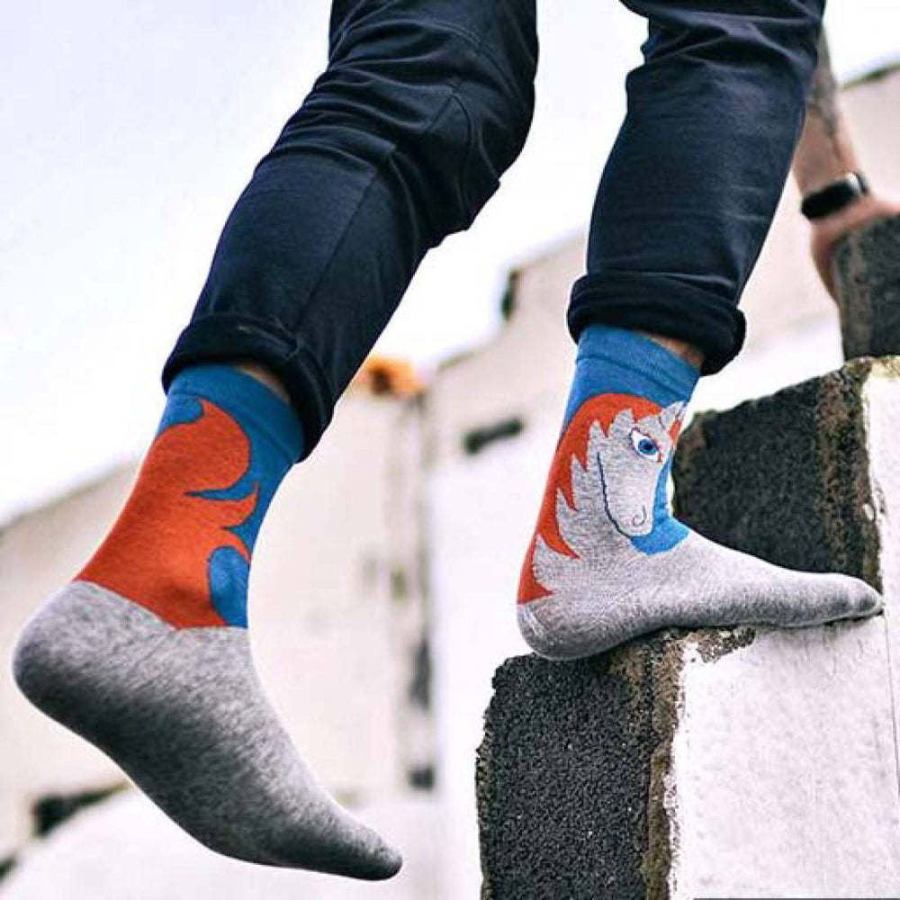 Unisex Horse Pony Print Animal Themed Cotton Socks in Blue and Grey | DOTOLY