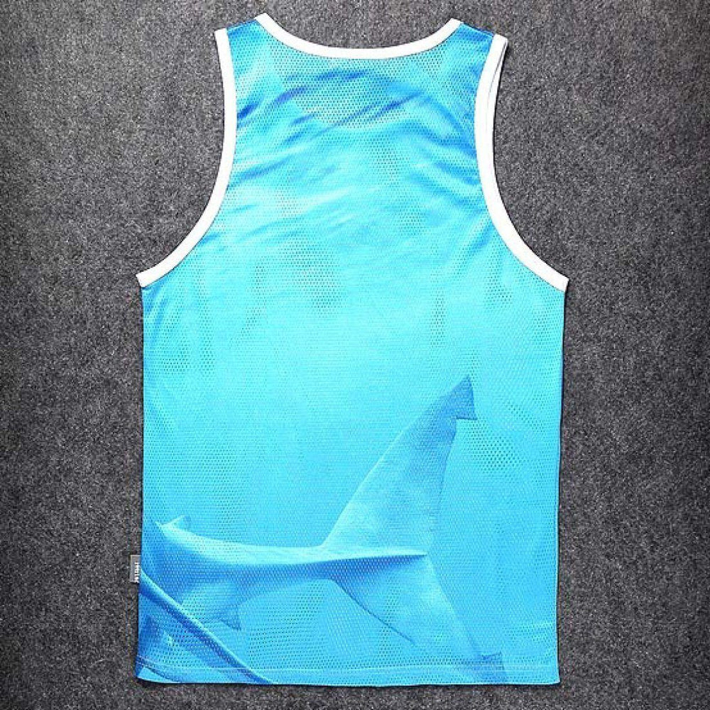 Unisex Shark Attack Mesh Graphic Tank Top in Blue | DOTOLY | DOTOLY