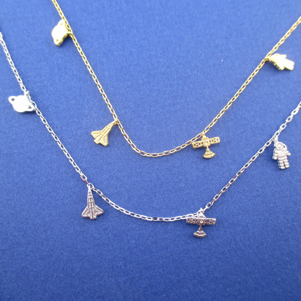 Planet Saturn Satellite Astronaut Rocket Space Craft Charm Necklace