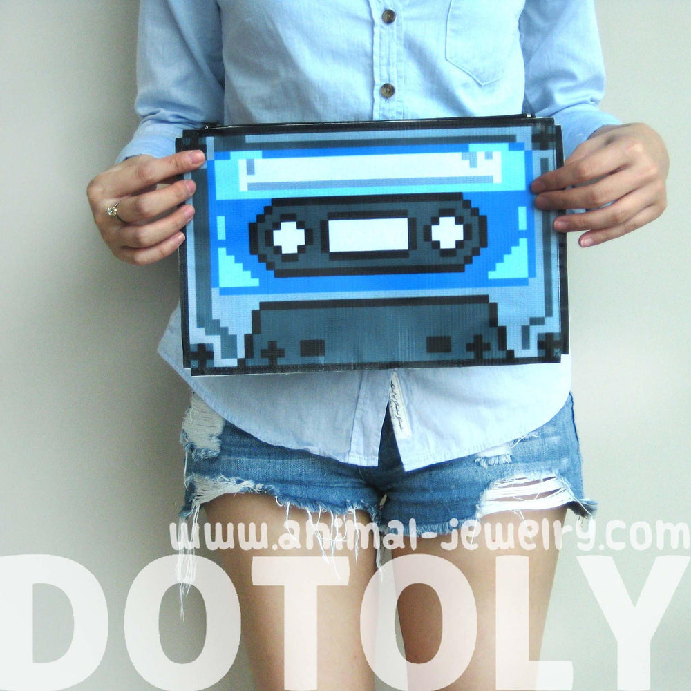 Upcycled Vinyl Classic Retro Cassette Tape Shaped Pixel Clutch Bag | DOTOLY | DOTOLY