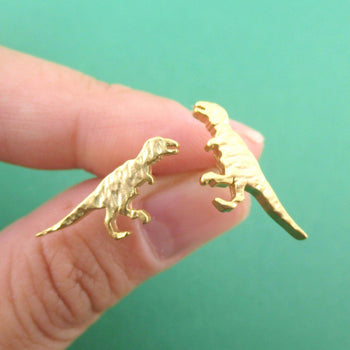 Velociraptor Dinosaur Silhouette Shaped Stud Earrings in Gold | DOTOLY