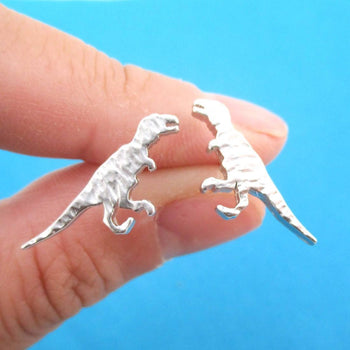 Velociraptor Dinosaur Silhouette Shaped Stud Earrings in Silver | DOTOLY | DOTOLY