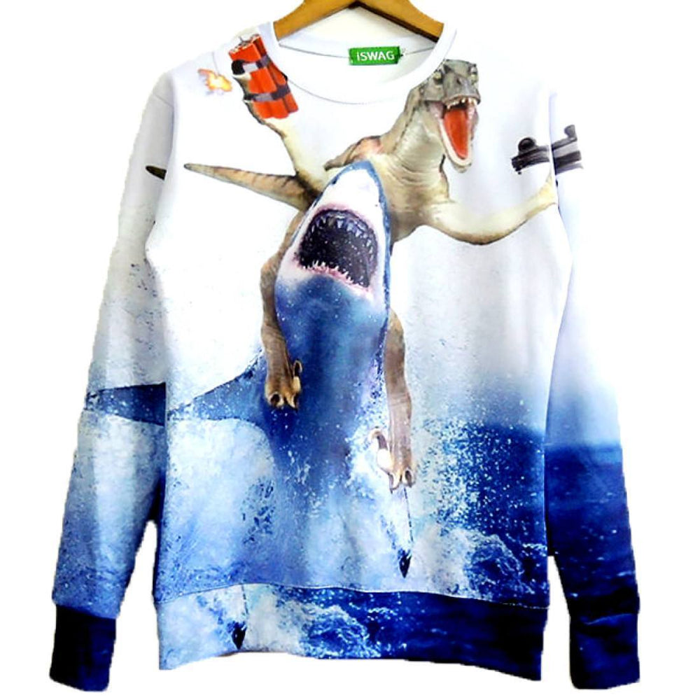 Velociraptor Riding A Shark Holding Dynamite And Gun Print Sweater Dotoly