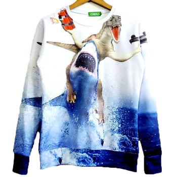Velociraptor Riding A Shark Holding Dynamite and Gun Graphic Print Sweater | DOTOLY