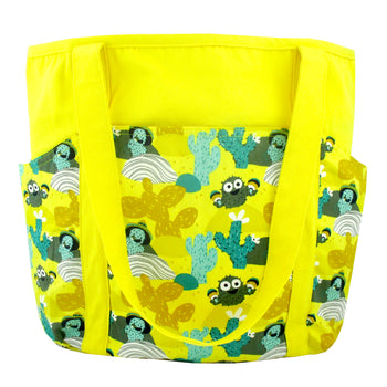 Large Shoulder Tote Diaper Bag with Bright Yellow Desert Cactus Print
