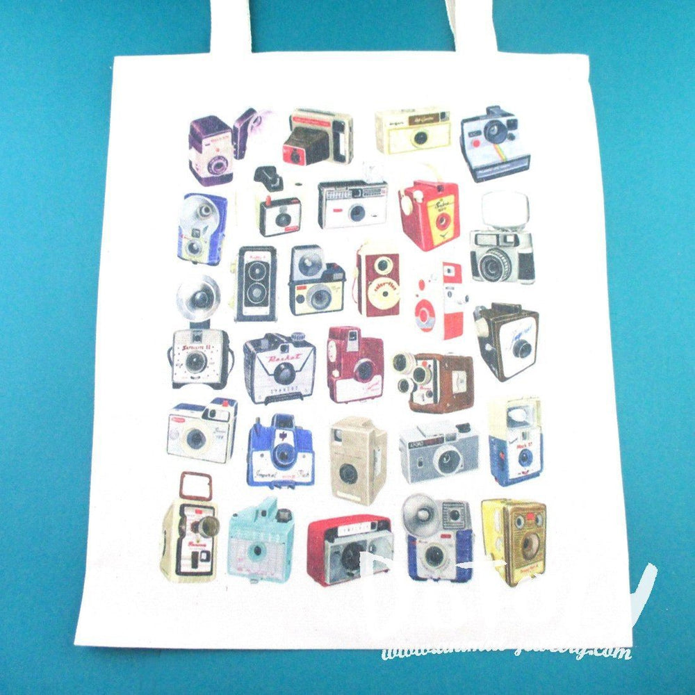 Vintage Antique Camera Print Illustrated Canvas Shopper Tote Bag
