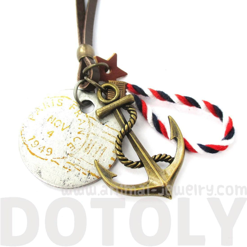 Vintage Inspired Nautical Themed Anchor and Coin Pendant Necklace in Brass | DOTOLY | DOTOLY