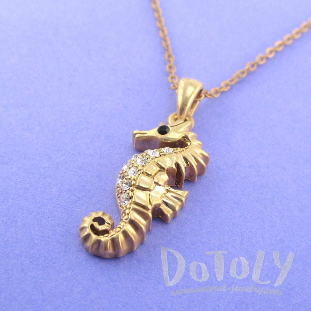 Vintage Inspired Seahorse Shaped Pendant Necklace in Antique Gold