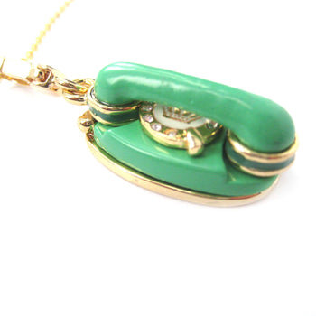 Vintage Rotary Telephone Shaped Pendant Necklace in Green | Limited Edition Jewelry | DOTOLY