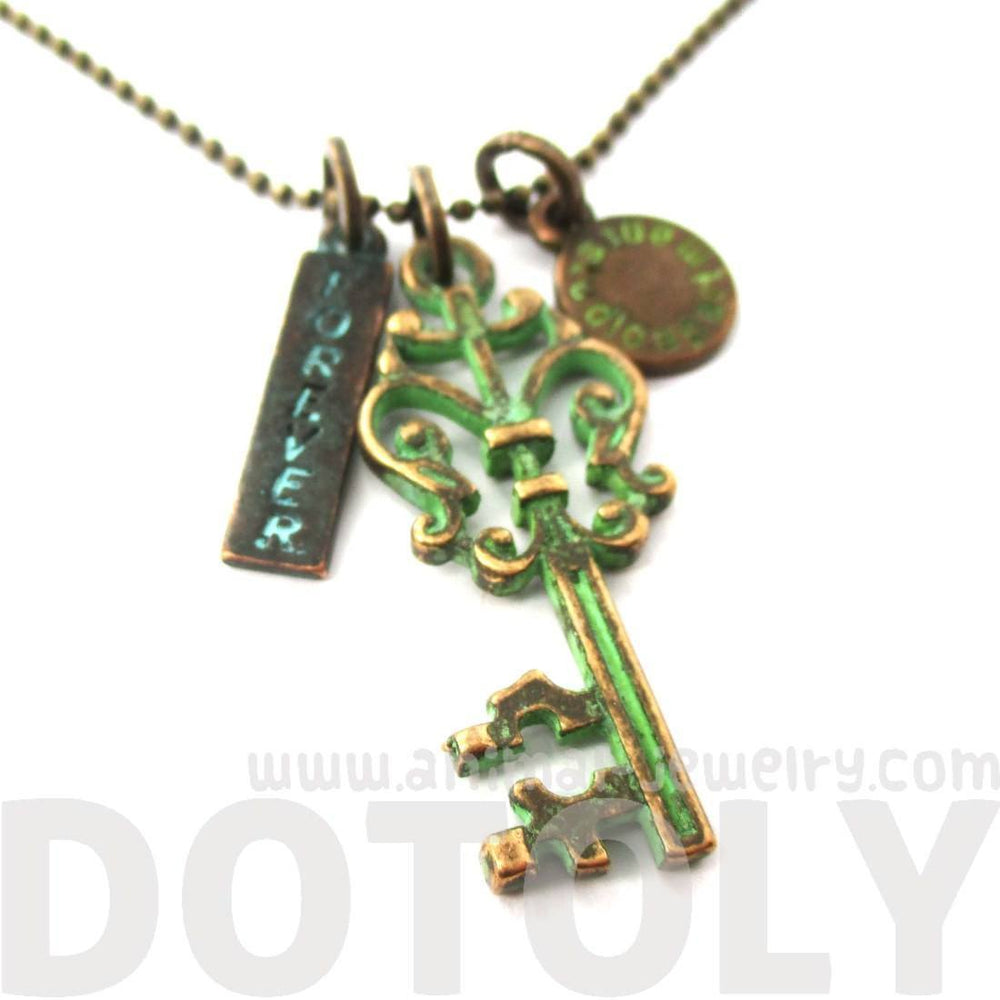 Vintage Skeleton Key and Forever Charm Necklace in Brass | DOTOLY | DOTOLY