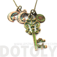 Vintage Skeleton Key and Moon Shaped Charm Necklace in Brass | DOTOLY | DOTOLY