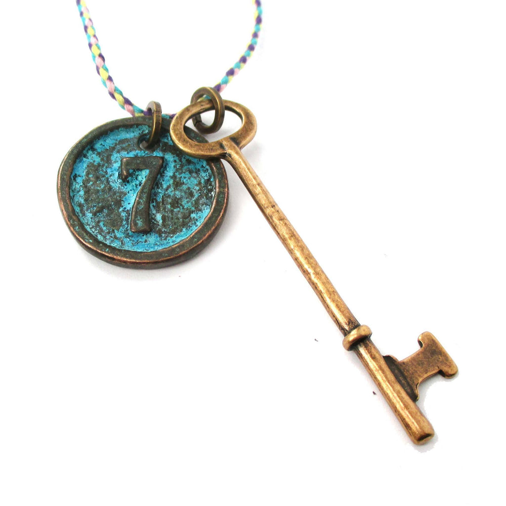 Vintage Skeleton Key and Round Room Number Pendant Necklace in Brass | DOTOLY | DOTOLY
