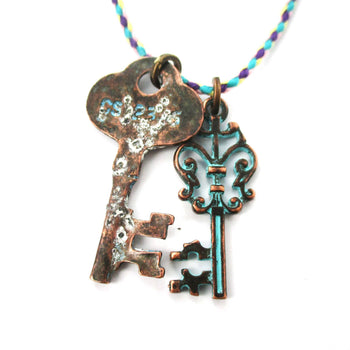 Vintage Skeleton Key Charm Necklace in Brass with Turquoise Details | DOTOLY | DOTOLY