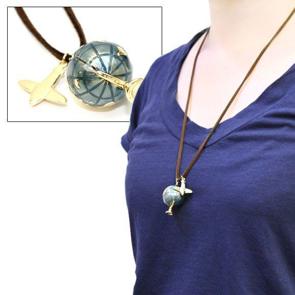 Vintage Style Spinning Earth Globe and Airplane Pendant Necklace | DOTOLY | DOTOLY