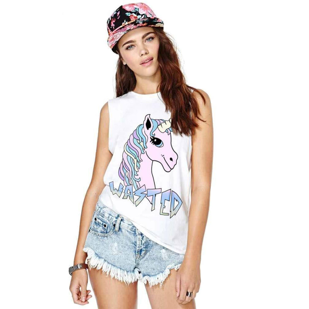 Wasted Unicorn Print Graphic Tee Vest in White | DOTOLY | DOTOLY
