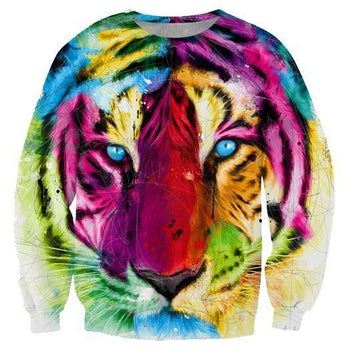 Watercolor Tiger Face Rainbow Graphic Print Unisex Pullover Sweater | Gifts for Animal Lovers | DOTOLY