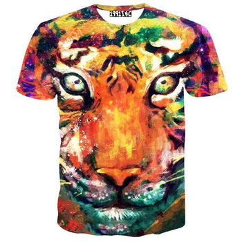 Watercolor Tiger Face Rainbow Graphic Tee T-Shirt | Gifts for Animal Lovers | DOTOLY