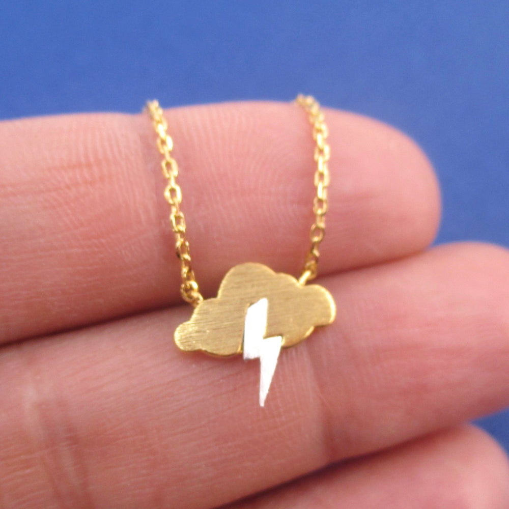 Weather Inspired Thunder Storm Cloud Lightning Bolt Pendant Necklace