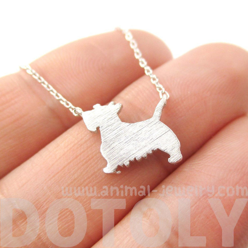 West Highland Terrier Dog Shaped Silhouette Charm Necklace in Silver | DOTOLY | DOTOLY