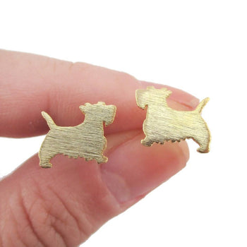 West Highland Terrier Dog Shaped Silhouette Stud Earrings in Gold | DOTOLY | DOTOLY