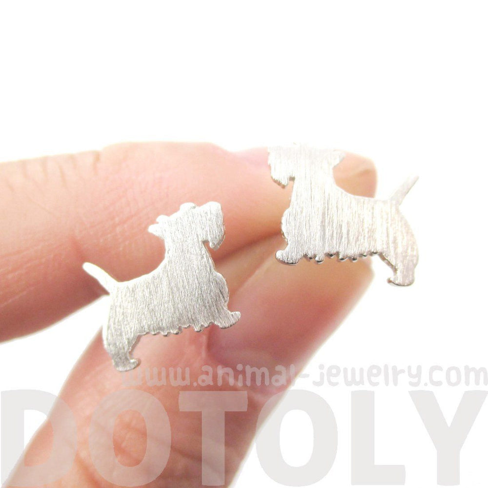 West Highland Terrier Dog Shaped Silhouette Stud Earrings in Silver | DOTOLY | DOTOLY
