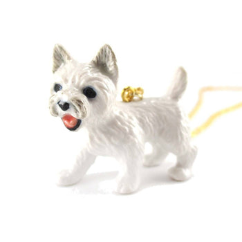 West Highland White Terrier Westie Puppy Dog Porcelain Hand Painted Ceramic Animal Pendant Necklace | DOTOLY